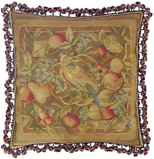 Parrot and Fruit - 22 x 22 in. Aubusson pillow