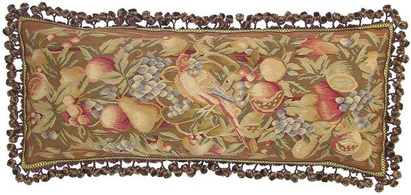 "Fruit in Blues and Pinks - 14 x 36 "" Aubusson pillow"