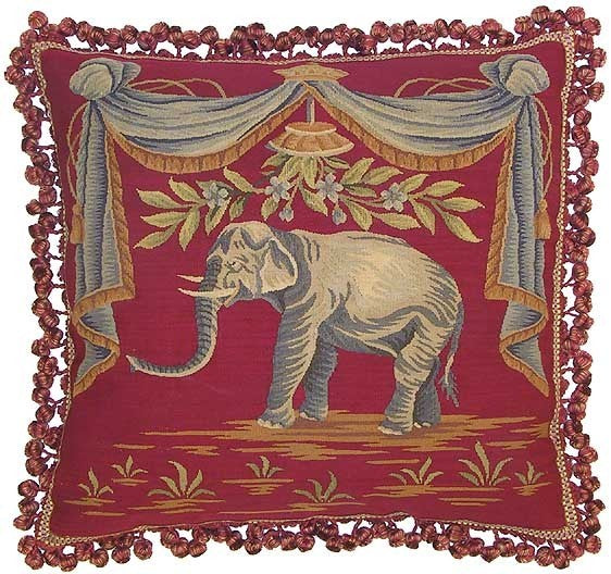 "Elephant on Red - 22 x 22 "" Aubusson pillow"