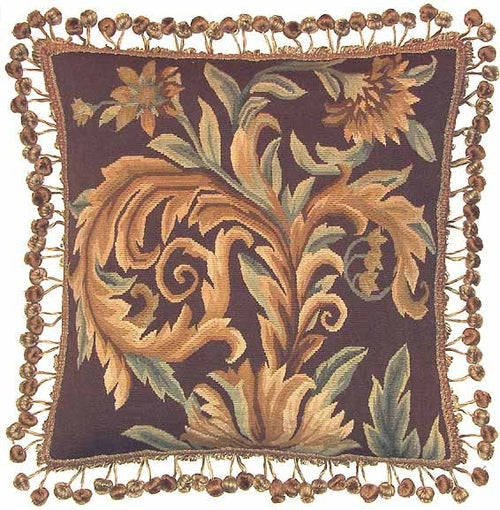 Royal Browns - 20 x 20 in. Aubusson pillow