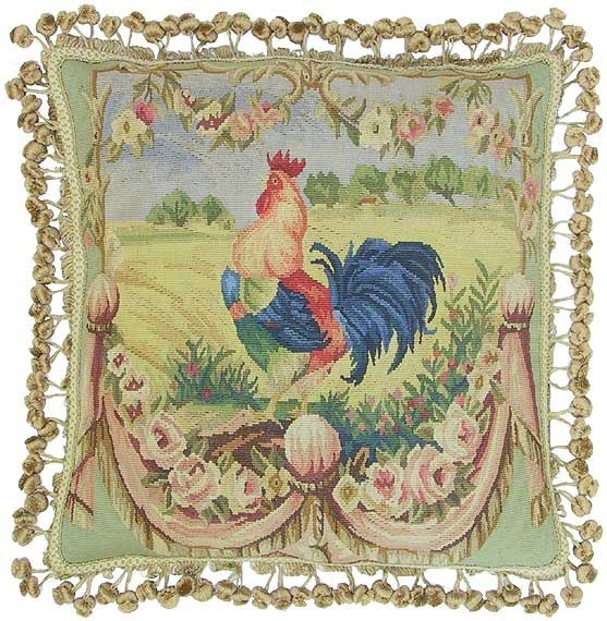 "Blue Rooster Facing Left - 20 x 20 "" Aubusson pillow"