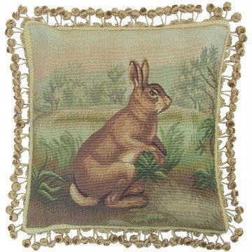 Rabbit Standing - 20 x 20 in. Aubusson pillow