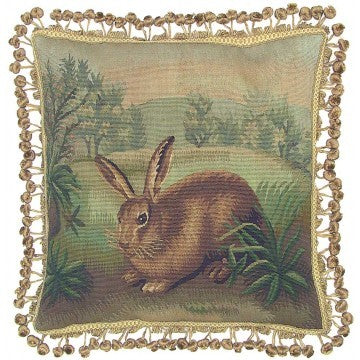 Rabbit Facing Left - 20 x 20 in. Aubusson pillow