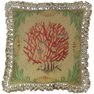 "Coral and Fish Facing Left - 20 x 20 "" Aubusson pillow"