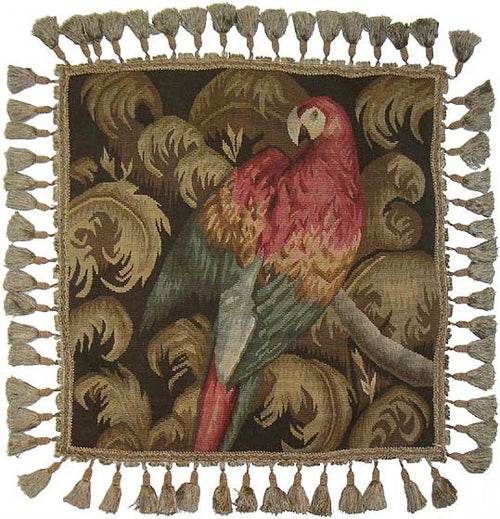 Pink Parrot Facing Right - 20 x 20 in. Aubusson pillow