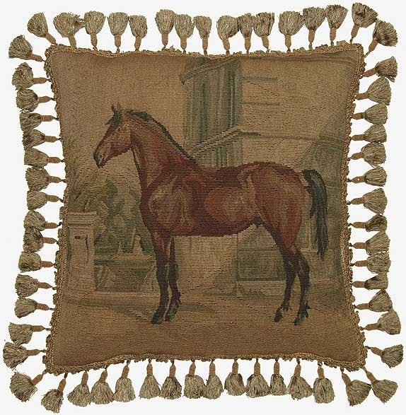 "Horse Facing Left - 20 x 20 "" Aubusson pillow"