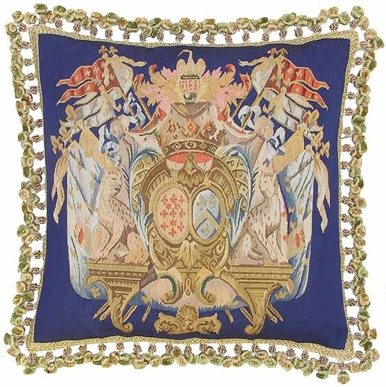 "Royal Orb on Royal Blue - 22 x 22 "" Aubusson pillow"
