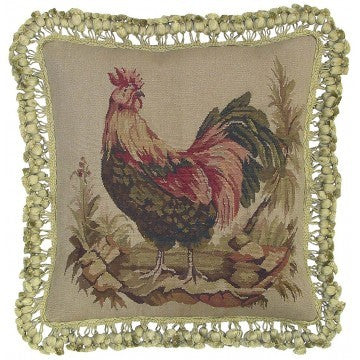 "Fancy Rooster Facing Left - 16 x 16 "" Aubusson pillow"