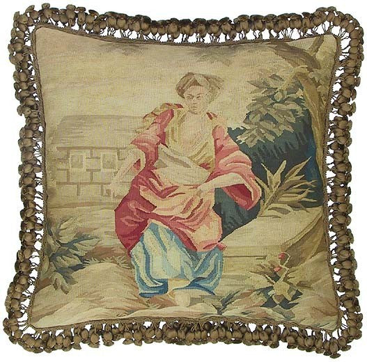 "AA- Woman in Pink - 22 x 22 "" Aubusson pillow"