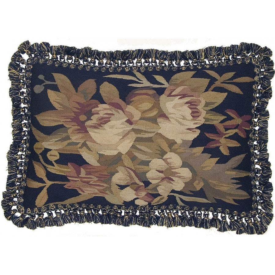 "Pinks Accents on Black - 16 x 24 "" Aubusson pillow"