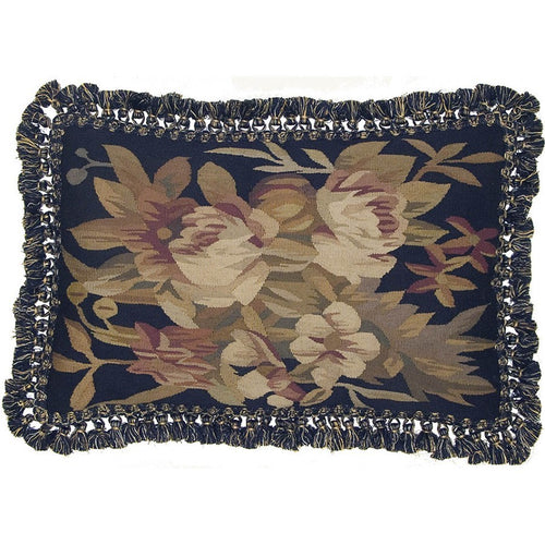 Pinks Accents on Black - 16 x 24 in. Aubusson pillow