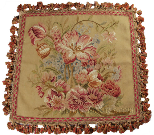 "Royal Bouquet I - 20"" x 20""  Aubusson Pillow"