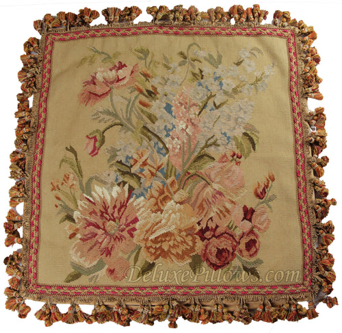 "Royal Bouquet II - 20"" x 20""  Aubusson Pillow"