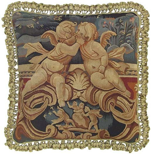 "Two Cupids Kissing - 22 x 22 "" Aubusson pillow"