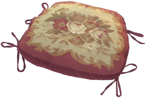 "Roses on Red Aubusson Chair Cushion - 18"" x 20"""