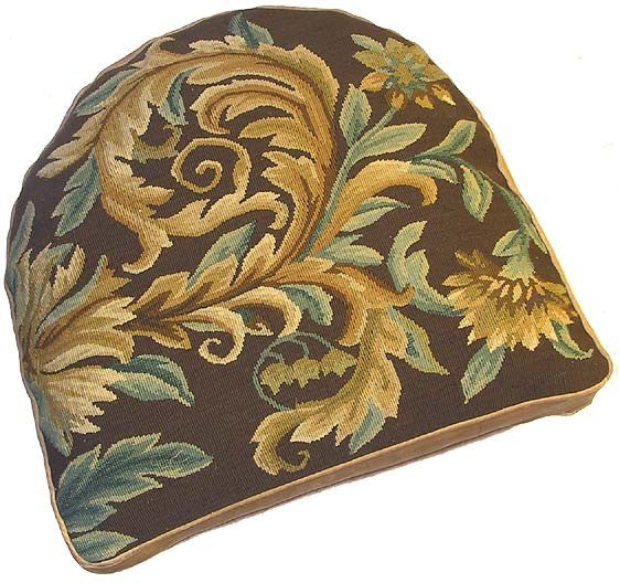 "Brown Floral Swirls Aubusson Chair Cushion - 18"" x 20"""