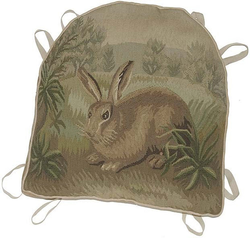 "Rabbit Hidding Aubusson Chair Cushion - 18"" x 20"""