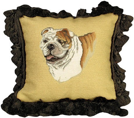 Bull Dog 12 x12 Mixed-Stitch Pillow