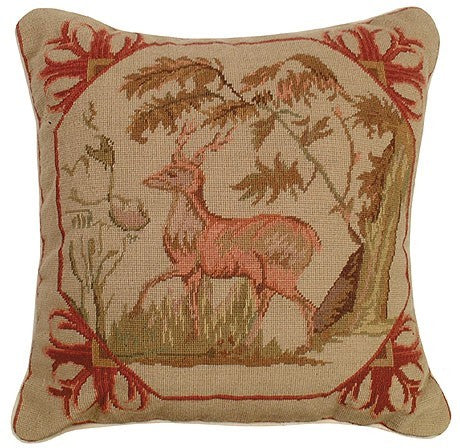 Lancaster Deer 16 x 16 needlepoint pillow