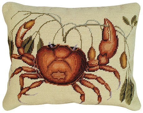 Crab 16 x20 needlepoint pillow