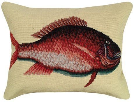 Snapper needlepoint pillow Licensed by Colonial Williamsburg