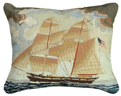 Brig Georgina 16 x 20 Mixed-Stitch Pillow Licensed by Colonial Williamsburg
