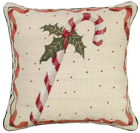"Candy Cane 16""x16"" Needlepoint Pillow"
