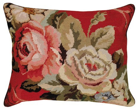 Diagonal Flowers 16 x 20 needlepoint pillow