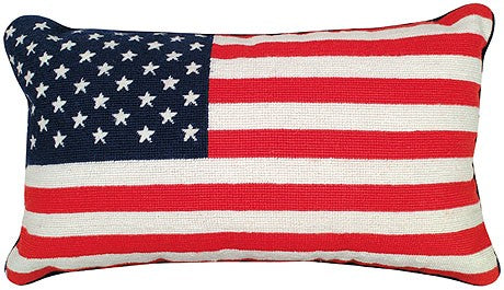 "Flag 12"" x 21"" Needlepoint Pillow"