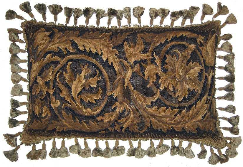 "AA- Swirling Brown Leaves - 16 x 24 "" Aubusson pillow"