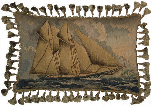 Sailing Ship - 16 X 24 - in. Aubusson pillow
