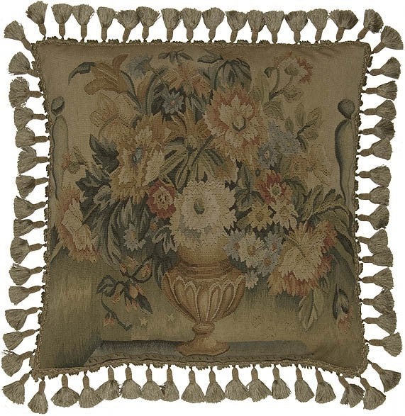 "Flower Vase on Green - 22 x 22 "" Aubusson pillow"