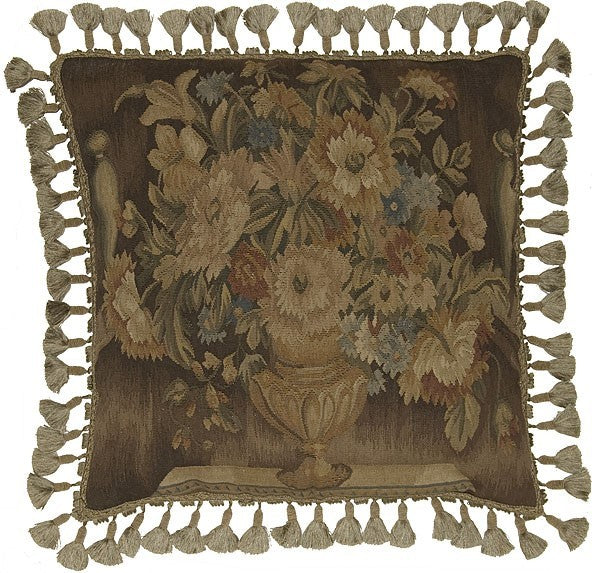 "Flowers in Taupe - 22 x 22 "" Aubusson pillow"