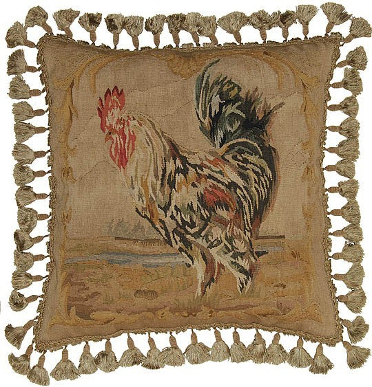 "Rooster Facing Left - 20 x 20 "" Aubusson pillow"
