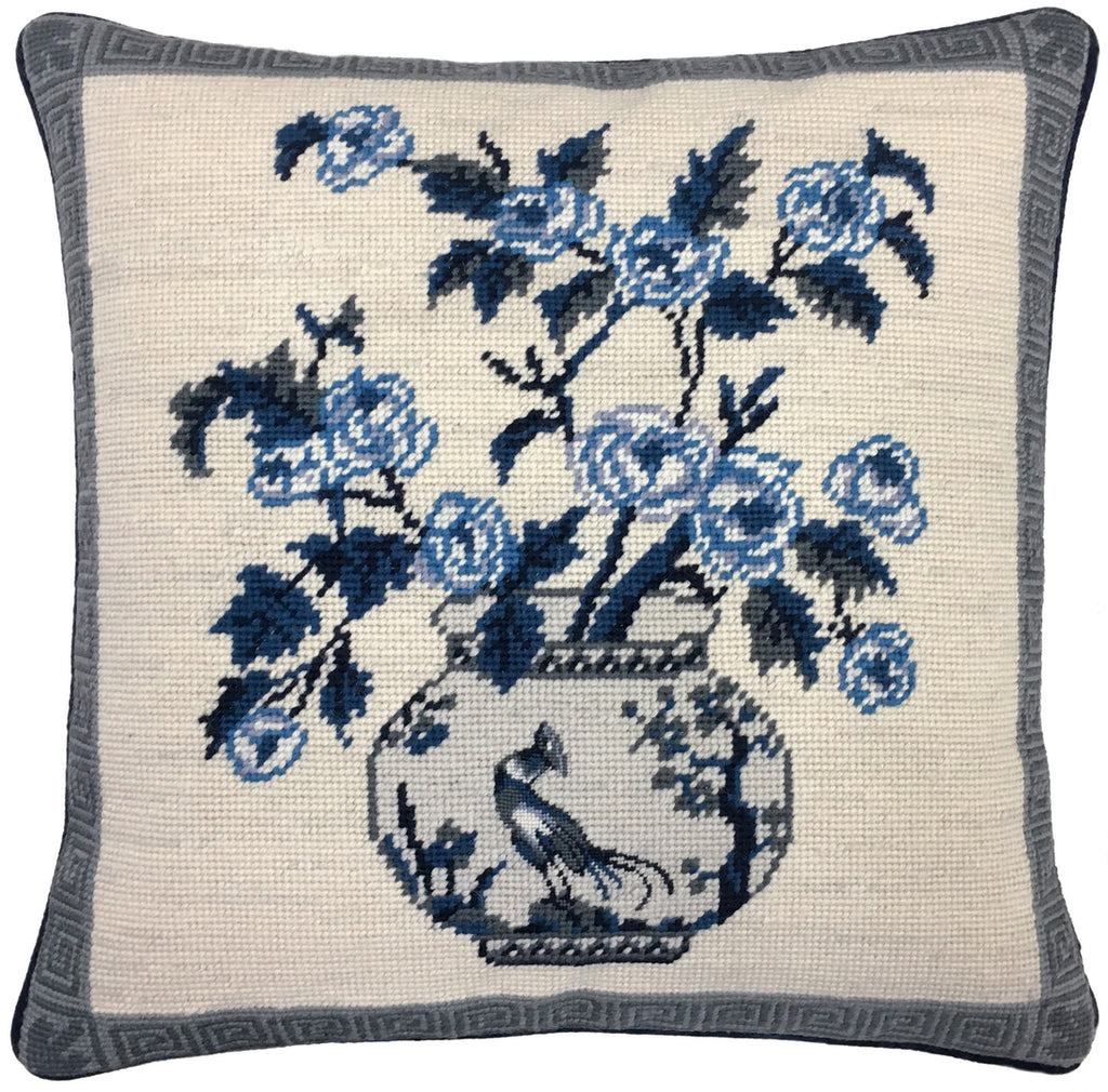 "Blue Bouquet I - Needlepoint Pillow 16""x16"""