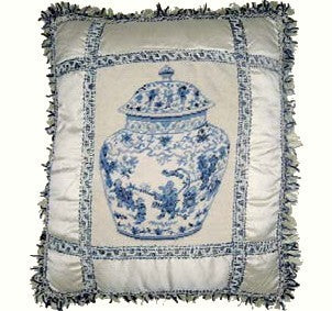 Blues and Silver - 17 by 18 in. needlepoint pillow