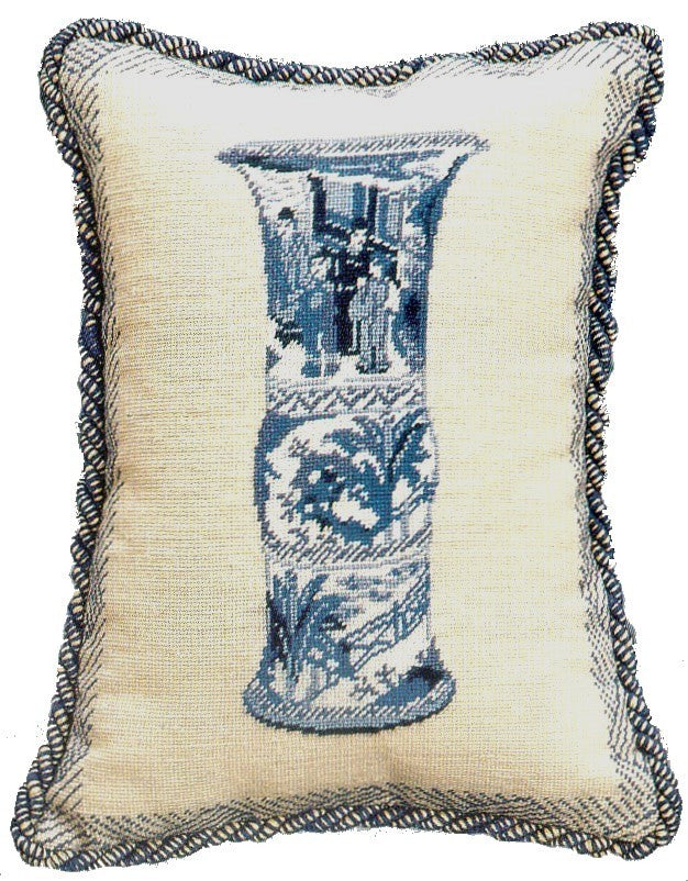 "AA- Vase in Blue - 12 by 16 "" needlepoint pillows"