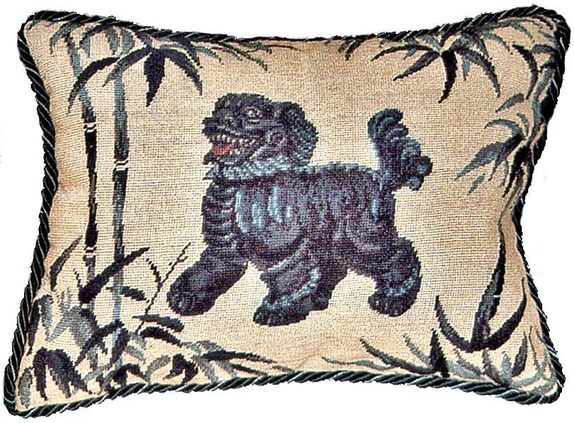 "Foo Dog Facing Left - 12 x 16 "" needlepoint pillow"