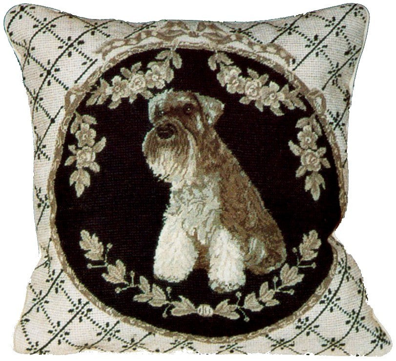 "AA- Schnauzer - 16 x 16 "" needlepoint pillow"