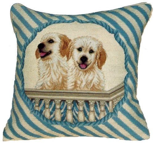 Two Dogs on Balcony - 16 x 16 in. needlepoint pillow