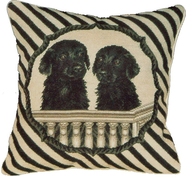 "AA- Two Black Labs - 16 x 16 "" needlepoint pillow"