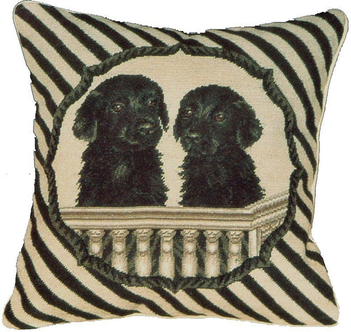 Two Black Labs - 16 x 16 in. needlepoint pillow