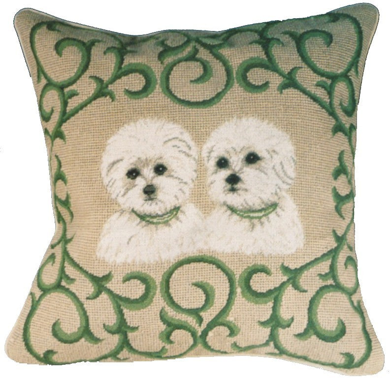 "Two Westies - 16 x 16 "" needlepoint pillow"