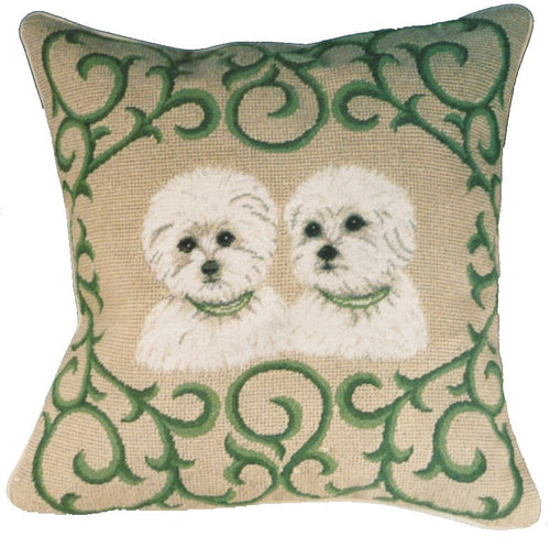 Two Westies - 16 x 16 in. needlepoint pillow