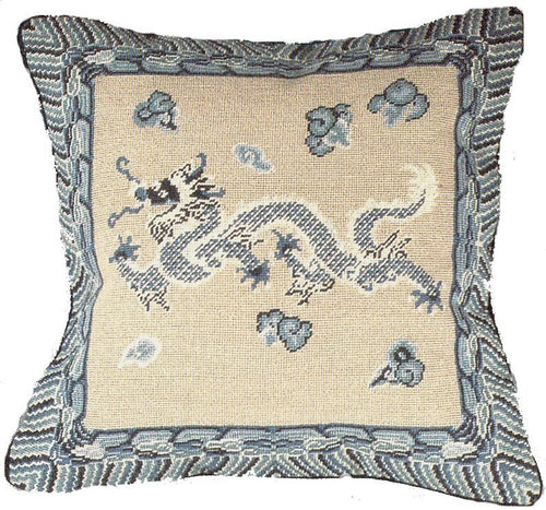 Dragon - 16 x 16 in. needlepoint pillow