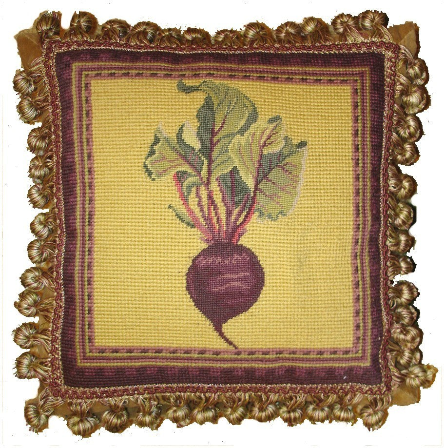 "Turnip on Yellow - 12 x 12 "" needlepoint pillow"