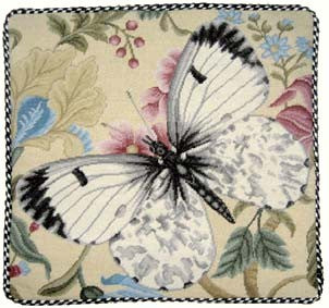 "Black Tip Butterfly - 16 x 16 "" needlepoint pillow"