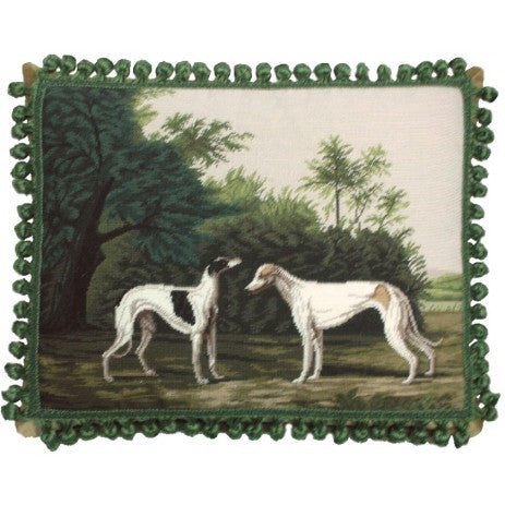 "AA- Two Dogs in Green - 18 x 22 "" needlepoint pillow"