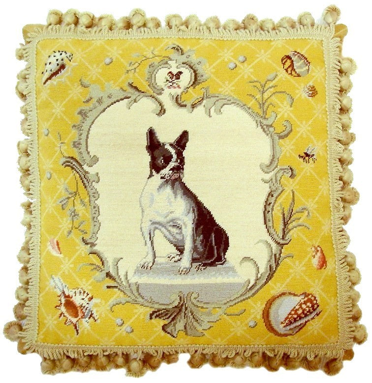 "Dog in Yellow - 18 x 18 "" needlepoint pillow"