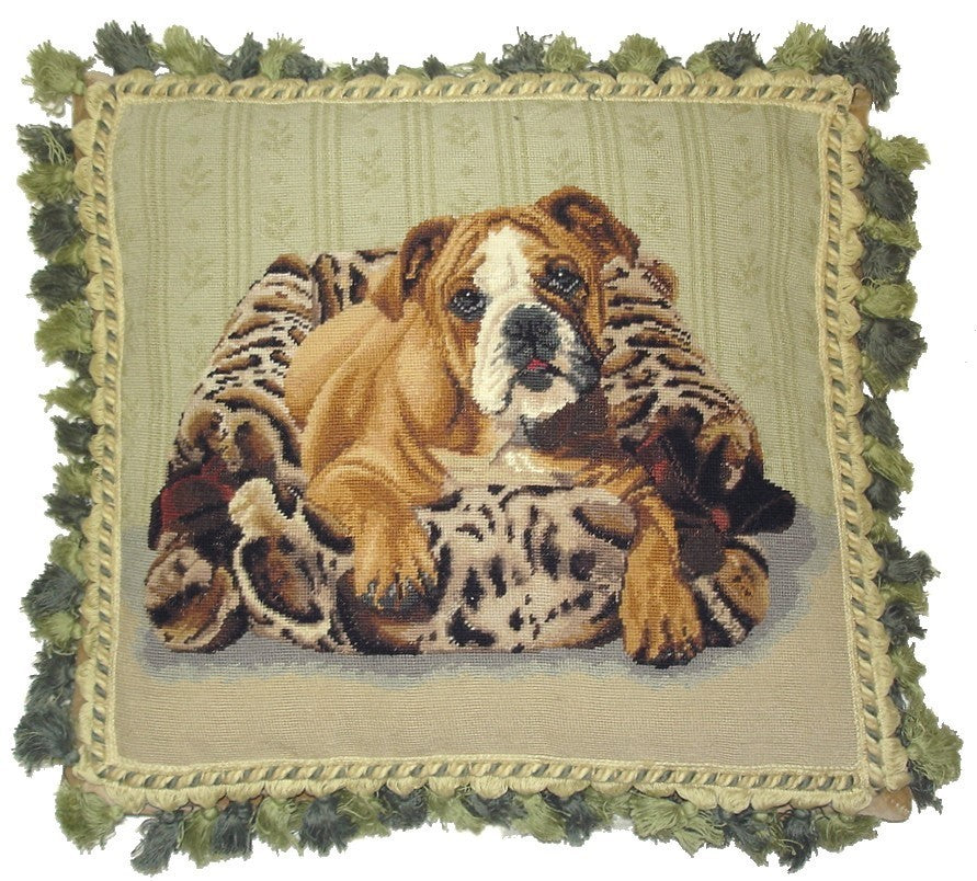 "Dog in Bed - 16 x 18 "" needlepoint pillow"